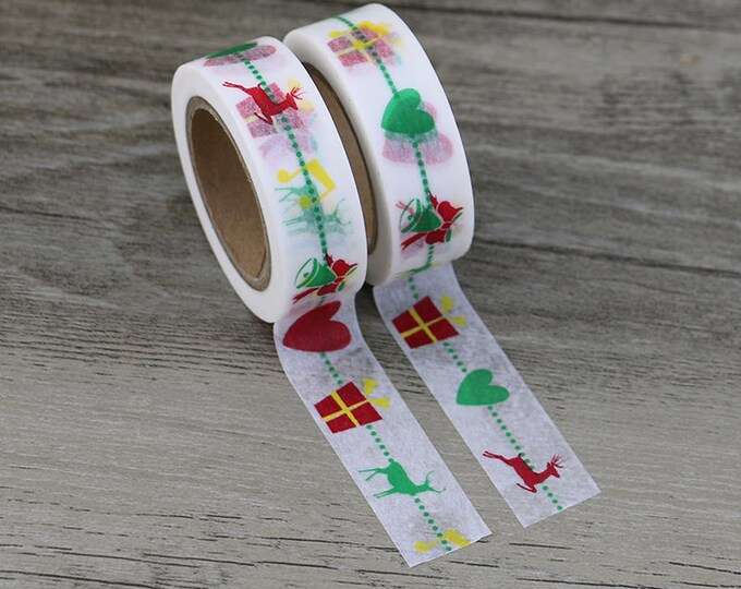 Washi Tape - Christmas Washi Tape - Reindeer Tree washi Tape - Paper Tape - Planner Washi Tape - Washi - Decorative Tape - Present Washi Tap