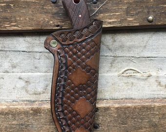 Handcrafted Hunting knife with leather sheath.