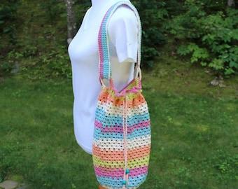 Drawstring Market Bag, Crochet Market Tote Bag, Multicolor Bag, Crochet Carryall Tote, Beach Tote Bag