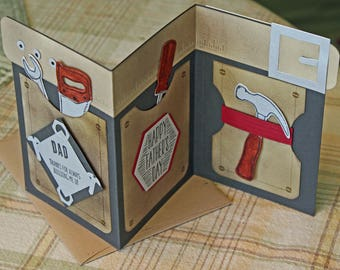 Fancy Father's Day Card Men's Tool Belt And Tools Gift Card Holder Blank on Back For Written Message Dad Thanks For Always Building Me Up