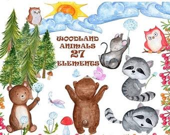 "SALE30% Watercolor clipart: ""FOREST ANIMALS"" Watercolor animals clipart,Bear clipart,Raccoon clipart,Diy invites,Kids clipart,Dandelion clip"