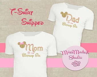 Pink Mom Dad T-Shirt Shipped!! Minnie Mickey Mouse Mom Birthday Girl Shirt DIY Iron On Digital Art Matching Pink Gold