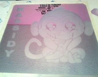 Cartoon Monkey etched mirror