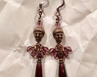 Purple & Copper Dangle Earrings