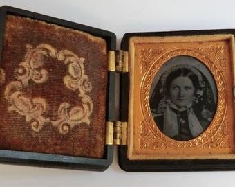 Antique Daguerreotype Photo Victorian Woman in Gorgeous Antique Photo Case