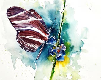 "Original watercolor painting-free shipping ""Butterfly pollinating a flower"" (watercolor butterfly insect colorful watercolour)"