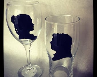 Hand painted Star Wars Princess Leia & Han Solo wine/pint glass set