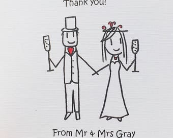Personalised Wedding Thank You cards (x10)