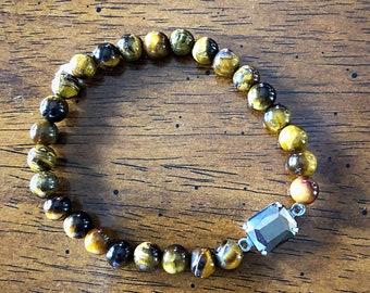 6mm tigers eye stretch bracelet with hematite connector