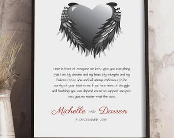 Custom Wedding Vows print, Wedding Vows keepsake, Valentines Day gift, Vows Keepsake print, Anniversary gift, 1st Anniversary gift,