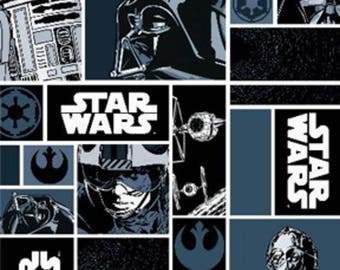 "Star Wars Blue in blocks fabric, By the Half Yard, 44"" wide, cotton fabric, darth vader fabric, r2d2 fabric, star wars blue fabric"