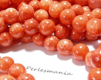 10 Orange tomato jade 8mm