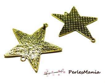 10 large old gold P15687 hammered star connector pendants