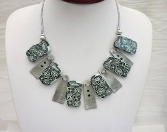 blue grey necklace, flat beads, handmade polymer