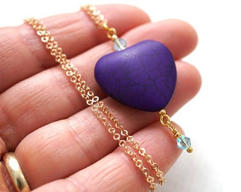 Boho Jewelry Heart Necklace Thin Gold Chain Dark Purple Heart Aqua Blue Crystal Deep Purple Necklace Royal Color Purple Bridesmaid Gift