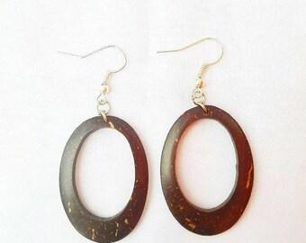 Earrings,Coconut Shell Earrings,Dangle earrings,Unique Brown Earrings,Big Earrings,Gifts For Women,Women's Jewelry