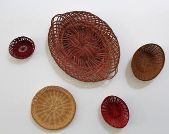 Touch of red Vintage Basket collection of 5
