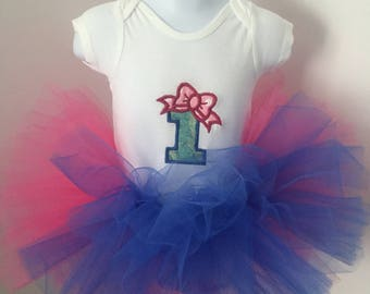 Embroidered #1 onesie with TuTu