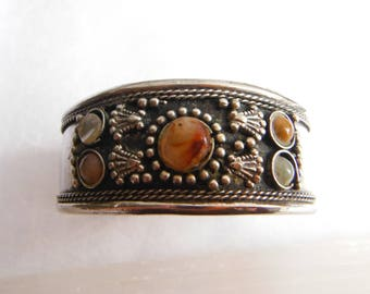 Silvertone Gemstone Cuff Bangle