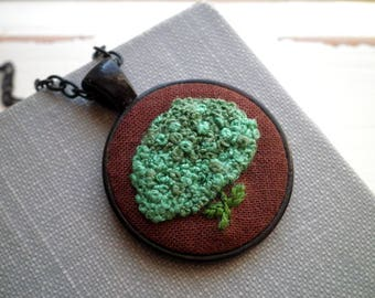 Green Hydrangea Embroidery Necklace - Flower Fiber Art Nature Embroidered Necklace- Cabbage Green Floral Foliage Boho Jewelry Holiday Gift