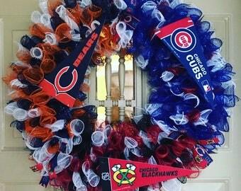 3 Team Wreath, Chicago Cubs Wreath, Chicago Blackhawks Wreath, Chicago Bears Wreath, Deco Mesh Wreath, Porch Wreath, Sports Wreath