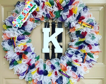 Teacher Wreath, School Wreath, Classroom Wreath, Classroom Decor, Teacher Gift, Indoor Wreath, Outdoor Wreath, Door Decor