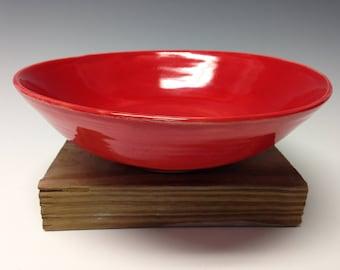 Red serving bowl, stoneware bowl, handmade ceramic bowl, pottery housewarming gift