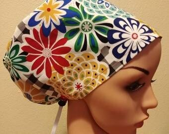 Women's Surgical Cap, Scrub Hat, Chemo Cap, Flower Garden