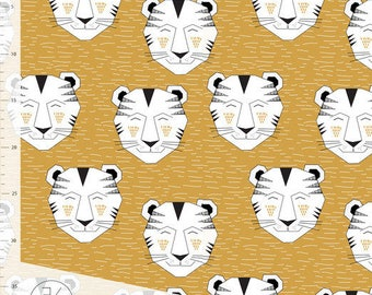 Tiger in Gold by Elvelyckan Design - Organic Jersey Knit Fabric