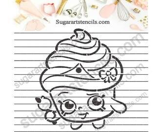 PYO Shopkins Cupcake Queen cookie Stencil NB1603