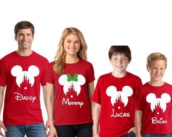 Disney CASTLE Christmas Family Shirts, GREEN BOW Disney inspired shirt, Family Vacation shirts, Disney christmas shirts, Family vacation
