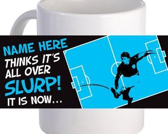 "Personalized ""Footy Slurp"" Coffee Mug With Custom Printed Name, Text"