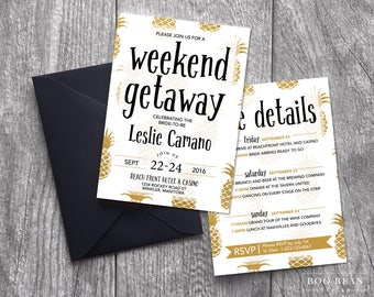 Gold Pineapples Bachelorette Invitation | Printable Invitation | Bachelorette Invitation | Bachelorette Party | Weekend party | Hens Night