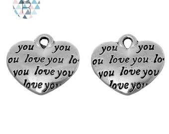 "15 tiny hearts charms ""Love you"""