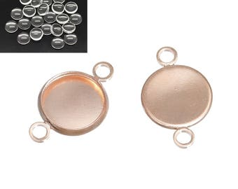 5 kits toned rose gold 19x12mm + Cabochons 10mm glass