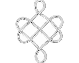 3 connectors in the form of Celtic knot silver 2.4 cm