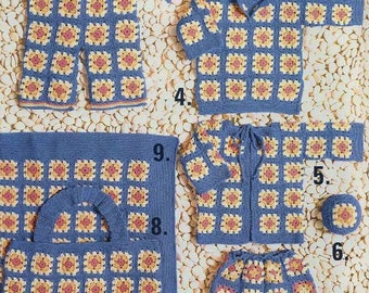 Baby Motif Layette, 9 Patterns, Crochet Pattern. PDF Instant Download.
