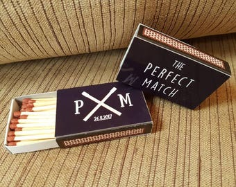 10 x Personalised Favours Matchbox 'The Perfect Match' Wedding - Crossed Matches - Black and White