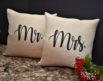 mr and mrs pillows his and her pillows mr u0026 mrs sign pillow set
