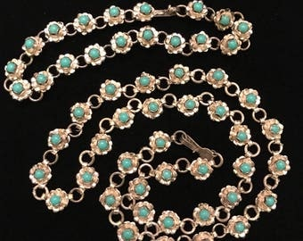 "Mexican Sterling and Turquoise Rosette Necklace 16.75"" and Bracelet 7.25"" Set"
