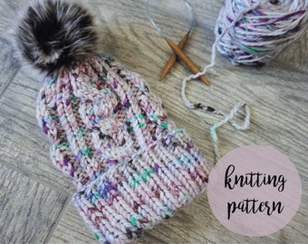KNITTING PATTERN // The Yosemite Beanie // Slouchy Cabled Knit Beanie with Folded Brim
