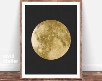 Gold Moon Print, Moon Phases Wall Art, Moon Poster, Gold Moon Decor, Luna Print, Full Moon Wall Print, Printable Moon, Minimal Bedroom Decor