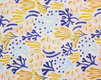 Elizabeth Olwen / Underwater / Cloud 9 Fabrics / Organic Cotton / Ocean Floor / Ivory / Quilting Crafting Sewing / Half Metre