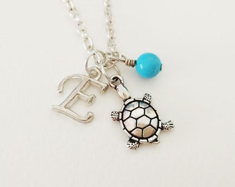 Turtle Necklace Personalized necklace Turtle Jewelry Gift necklace Initial necklace