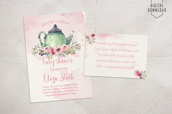 Tea Party Baby Shower Invitation, Teapot Invitation, Printable Baby Shower  Invitation, Floral Girl Baby Shower Invite, Baby Is Brewing