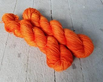 "Hand Dyed Sock Yarn, Superwash Wool - Merino - BFL - Nylon - Sparkle - Stellina, ""Triple Orange"""