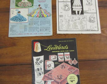 3 vintage craft catalogs Lee Wards and Woolworths 1940s 1950s