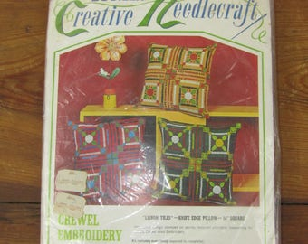 Vintage Bucilla crewel embroidery pillow kit LISBON TILES