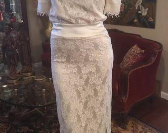 Vintage 1980's Jessica McClintock Ivory Lace Dress size 12 Medium Large