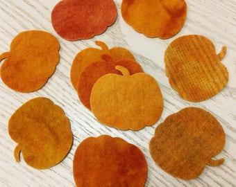 Hand-dyed Wool Pumpkins Medium -- BUNDLE of 10 pumpkins assorted